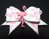 Cute pink flamingo hair bow rockabilly kitsch
