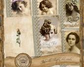 COMMERCIAL uSE - Feminine Shabby chic Cards -  vintage -set of 5 - printable - digital  download - PDF file (No.CD47)