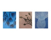 Set of three artistic postcards