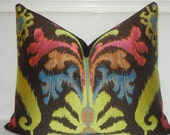 "16"" x 20"" Ikat - ""Claridge Mambo Jacquard Black pearl"" Pillow -Designer  fabric - Back fabric-Dark Black Brown)-Ready  to Ship"