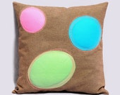Decorative Pillow Cover in electric blue, pink and pastel green and burnt brown BUBBLES 18x18, Contemporary design pillow, Designer pillow