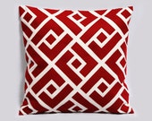 Red and white pillow cover - Greek Key Neo - Decorative pillow, Christmas Pillow, 18x18 pillows, geometric design, Made to Order