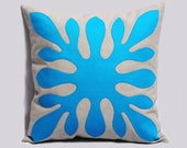 Decorative Hawaiian Pillow Cover ALOHA in neon blue and light gray 18x18 inches, Hawaii Pillow, Modern Cushion Contemporary, Made To Order