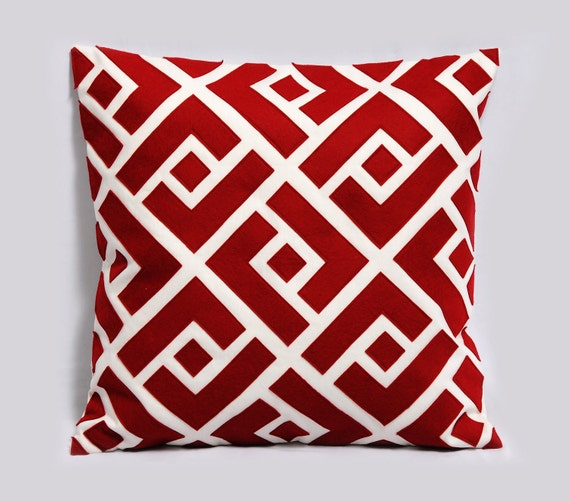 Red And White Decorative Pillows : Items similar to Red and white pillow cover - Greek Key Neo - Decorative pillow, Christmas ...