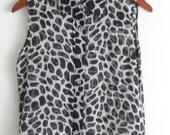 On Sale--Vintage Sheer Animal Print Silk Sleeveless Blouse