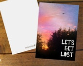 Let's Get Lost, white A6 card with matching envelope