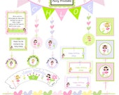 Fairy Garden Birthday Decorations, garden fairies invitation and more, DIY Printable