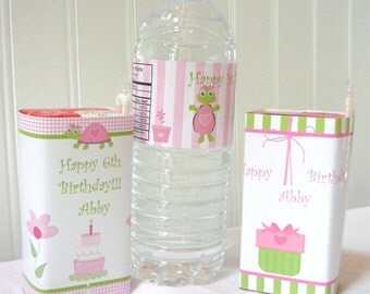 First Birthday Decorations, birthday decorations, pink and green turtle,printable first birthday party, printable party package
