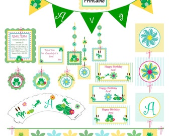 Frog Birthday Party Decorations, DIY Printable