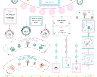 DIY Printable Pastel Owl Party Decorations for birthdays or baby shower