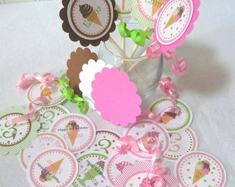 Ice Cream Cupcake Topper Kit customize with your wording and child's name for birthday or baby shower (18 pcs)