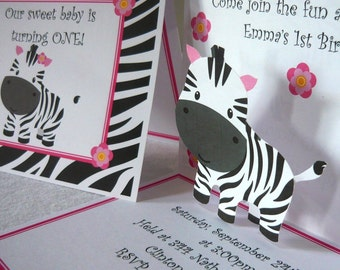 Zebra invitations, zebra birthday invites, zebra birthday decorations, zebra, pop up invites, pop up birthday invitations, zebra pop up card