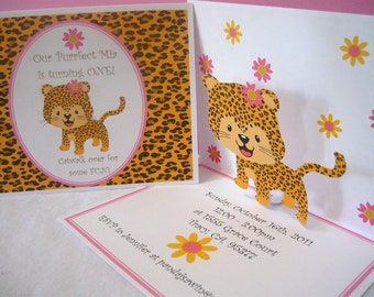 Pop up Birthday Invitations for a pink leopard print first birthday (set of 12)
