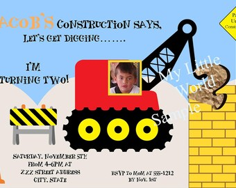 Construction Birthday Invitation Photo Card, construction birthday invitations, construction, construction invitations,dump truck, invites