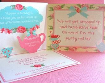 Shabby Chic invitation pop up invitation shabby chic birthday invitation