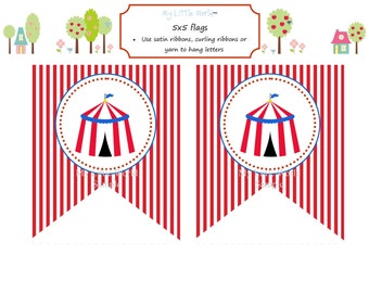 Circus Birthday Banner - DIY Printable flags (with child's name)
