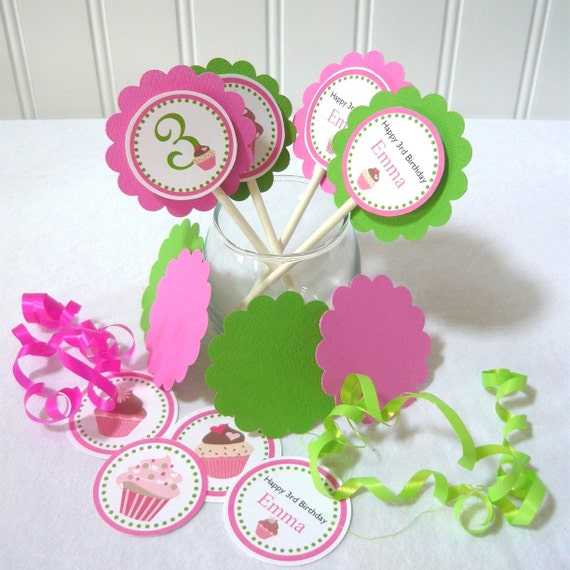 Cupcake Topper Kit customize with your wording and child's name (18pcs)