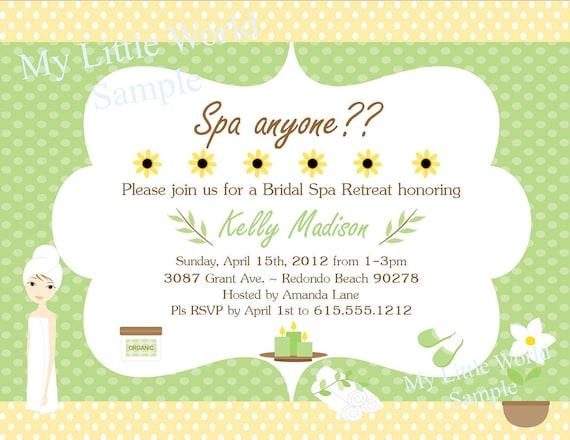 Spa invitation, PRINTABLE invitation, spa bridal shower, spa birthday invitation, invitation, spa invitations, printable spa invites