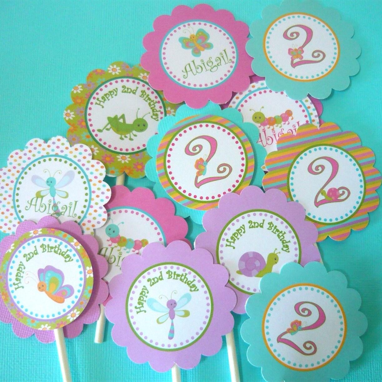Garden Bugs Garden Bug Cupcake Toppers Garden Bug Birthday - Bug cupcake decorating ideas