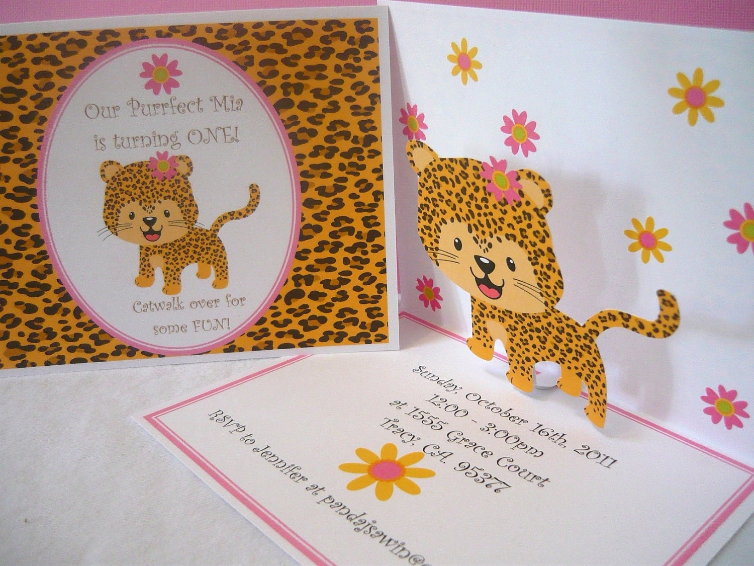 Pop up Birthday Invitations for a pink leopard print first – Leopard Print Birthday Cards