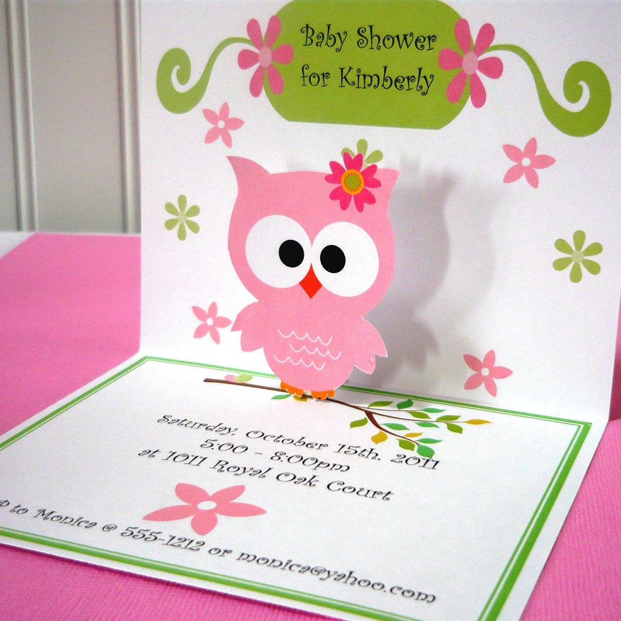 Pop Up Invitations/Owl Invitation/owl Invites/pop Up Owl