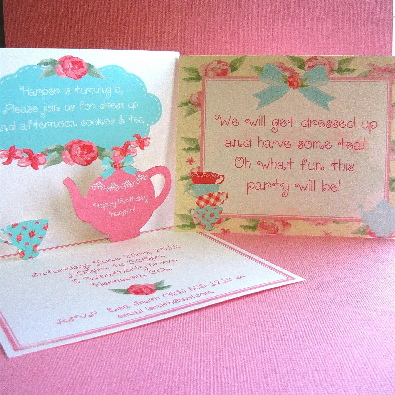 Shabby Chic Tea Pop Up Invitations for birthdays or baby