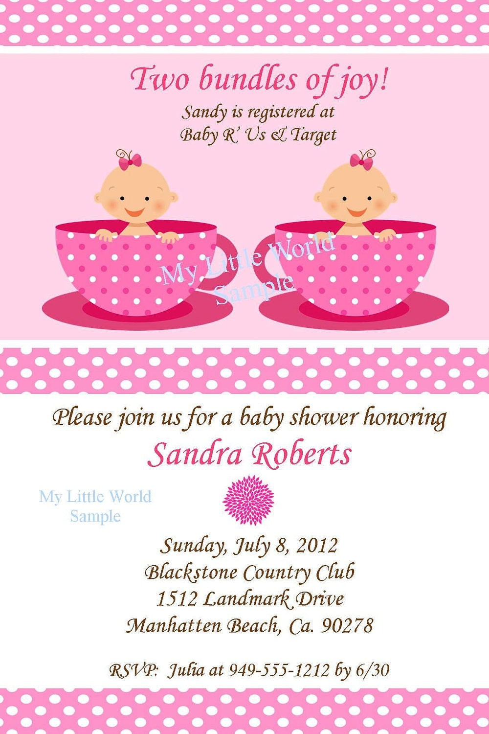 Twin invitation twin birthday invitations twin baby shower for Baby shower decoration ideas for twin girls