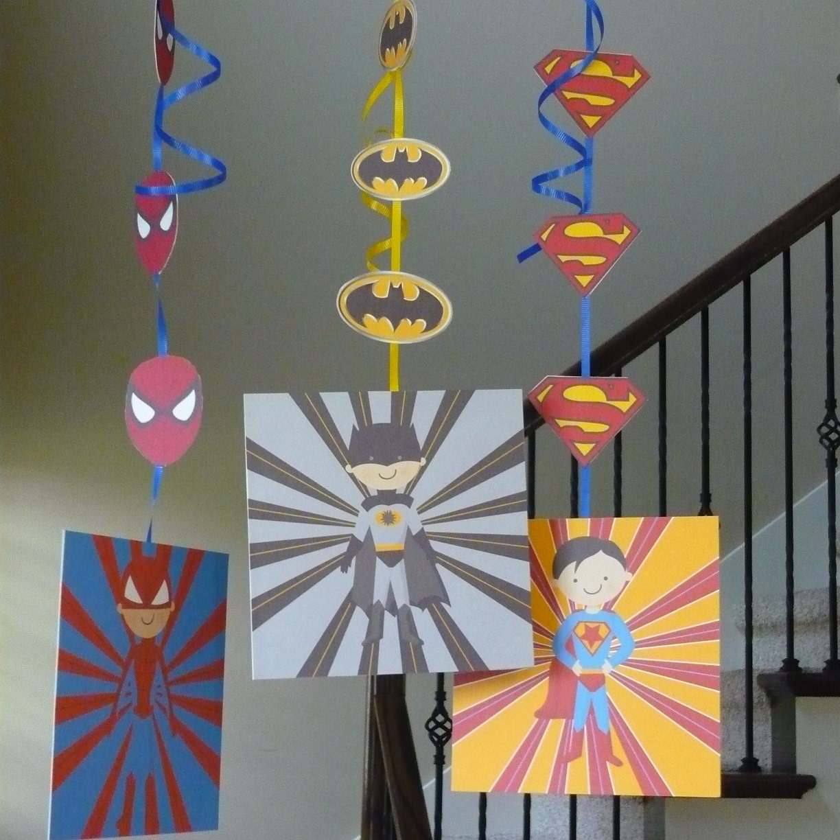Super hero decorations instant download printable superhero for Spiderman decorations