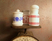 3 APOTHECARY Jars ANTIQUE BOTTLES // Spice Rack Jars Set of 3 Old White Milk Glass Apothecary Spice and Medicine Jars