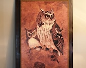 "AWESOME OWL WALL Hanging // Retro Owl Picture on Wood Board // ""Screech"" Owl By Richard J. Hinger circa 1970s // Owl Home Decor"