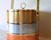 MODERN GLAM DECOR Vintage 70s Barware // Lovely Metallic Stripe Vintage Ice Bucket // Gold Copper Silver Retro Barware // Retro Ice Bucket