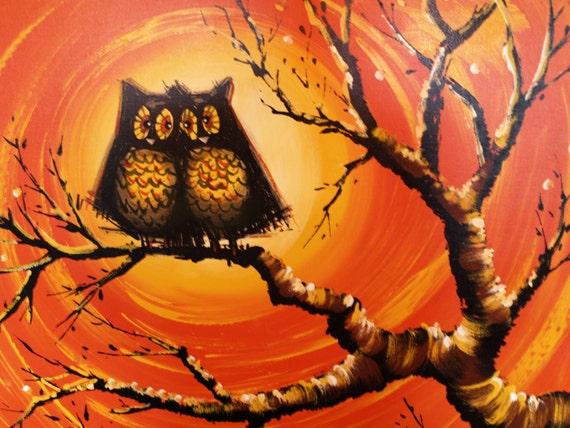 Huge Owl Painting Smile Vintage Owls By Acesfindsvintage