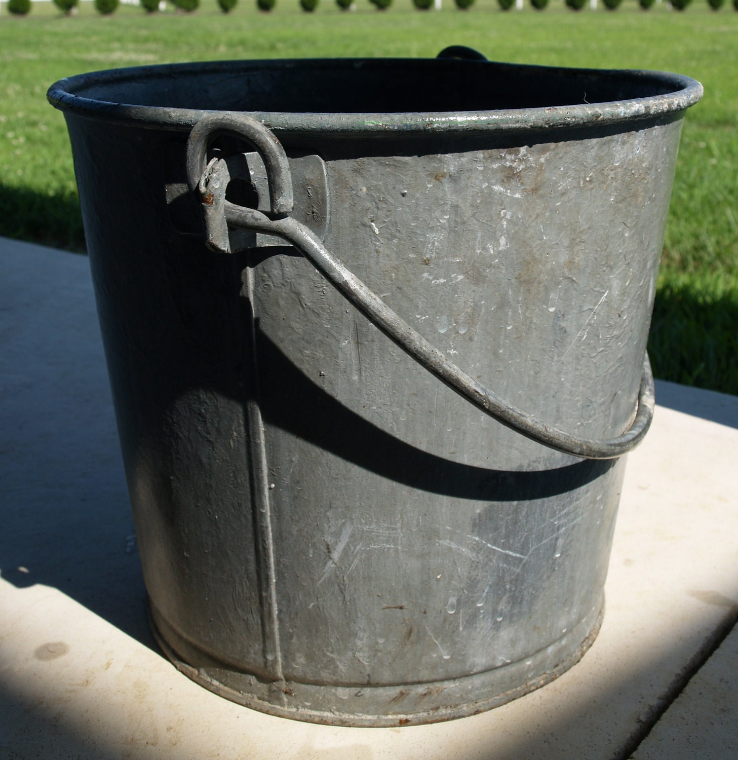 Farmhouse antique milking pail 70 yr old by for Old metal buckets