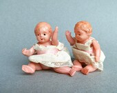 Antique Celluloid - Baby Dolls - Jointed Doll - Linen Dress - Antique Celluloid Doll - Baby Shower - Nursery Decor