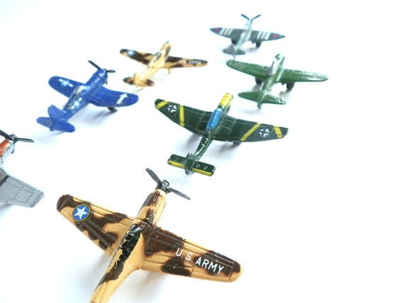 Vintage Tootsie Toy Airplanes Military Aircraft Diecast Metal