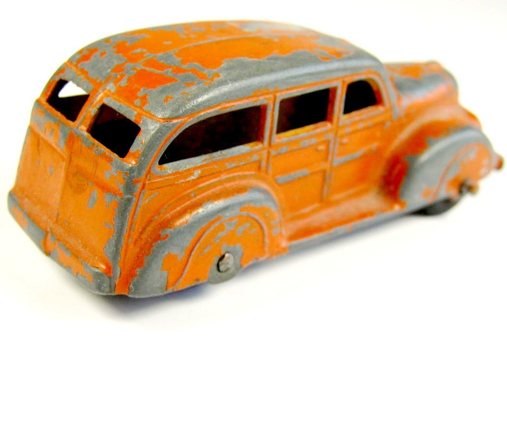 Vintage Tootsie Toy Car Orange Woody Wagon By