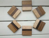 Striped wooden coasters with Wenge, Black Walnut, Mahogany and Maple.