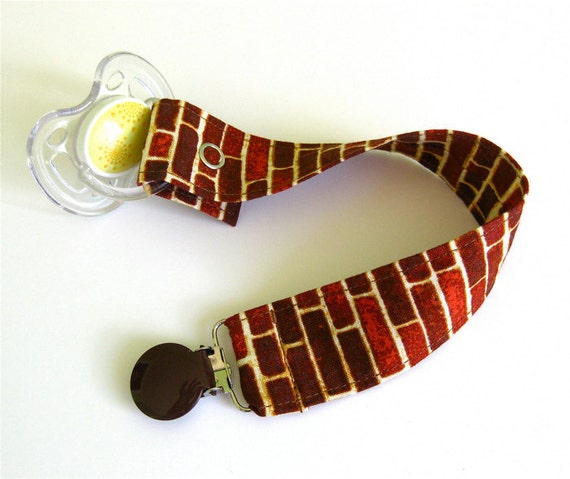Pacifier Holder - Paci Clip - Pacifier Clip - Binky Clip - Brick Wall