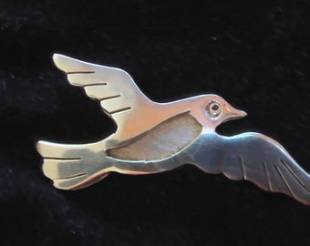 Vintage Mexican Sterling Silver Flying Bird Pin or Brooch Made in Mexico Peace Dove