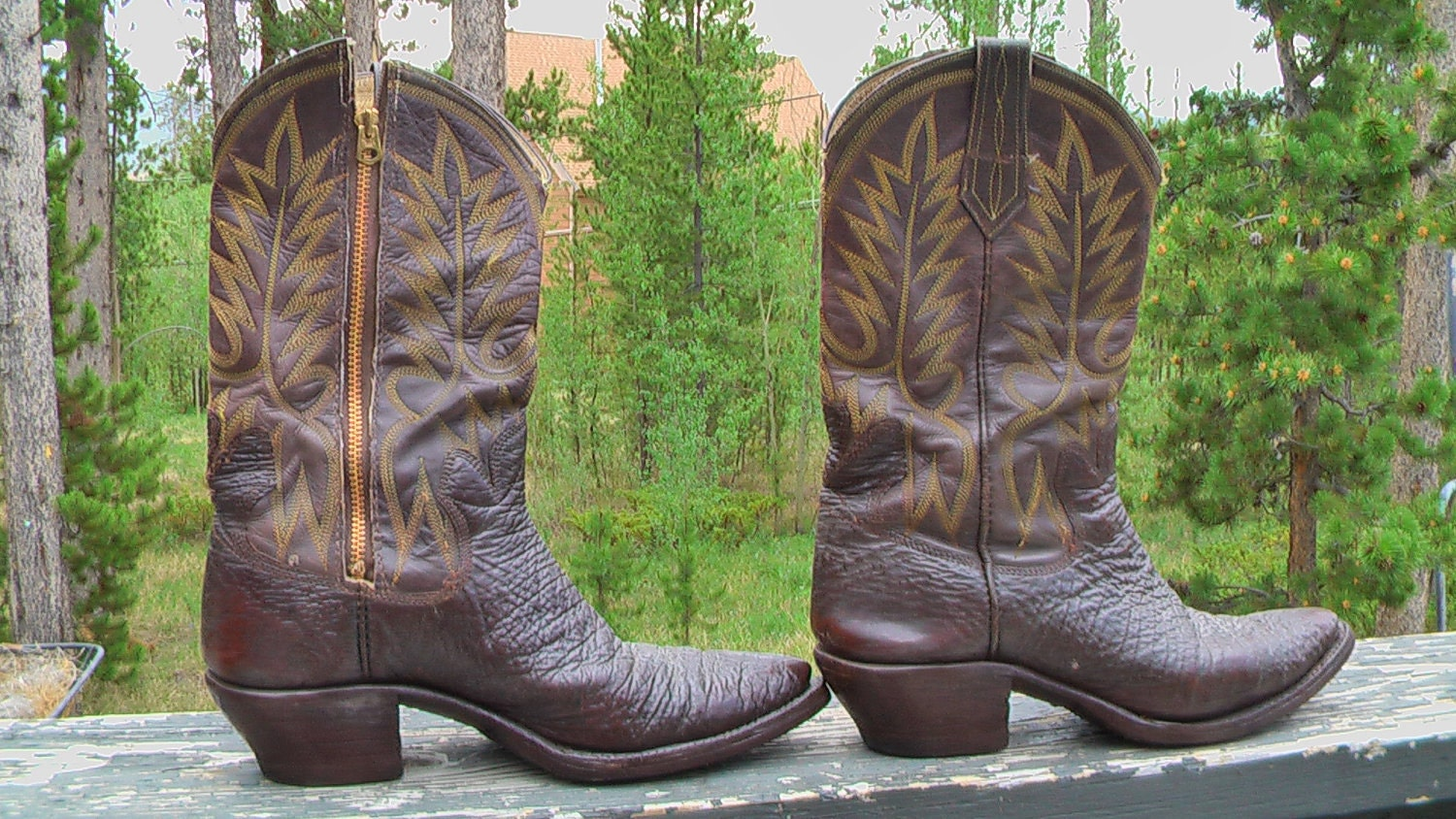 Vintage Brown Cowboy Boots Western Boots Cowgirl Boots Custom