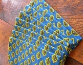 8 vintage blue and mustard cloth cotton table napkins