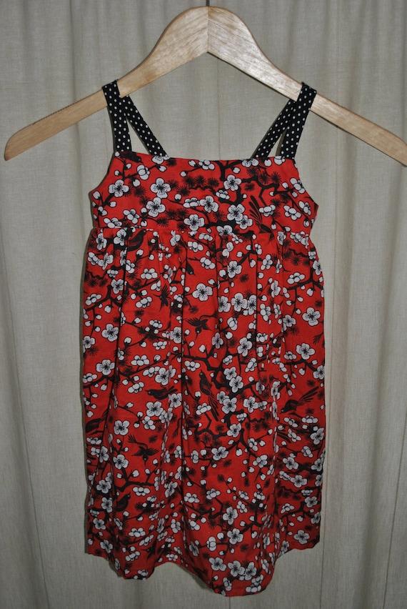 Girls Red Cherry Blossom Print Dress 3T