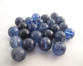 "Vintage Beads - Blue Glass Bead ""Blueberry"" Round - 9-10mm"