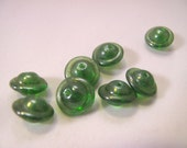 Vintage Beads - Green Czech Translucent Flying Saucer Beads