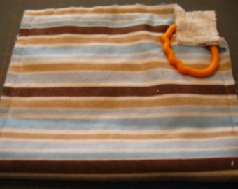 Tan Blue Brown Stripes Burp Pad Fringe Burp Rag Feeding Cloth