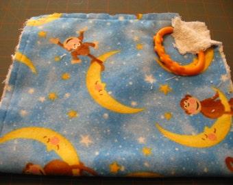 Monkey on the Moon Burp  Feeding Cloth  Burp Rag