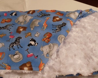 Baby Blanket Minky and Zoo Animals