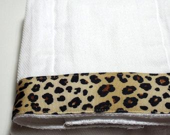 Burp Cloth- Brown Cheetah Ribbon Cotton Cloth Diaper