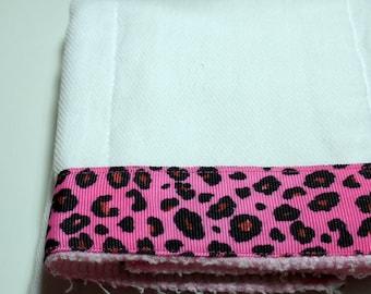 Burp Cloth- Hot Pink Cheetah Ribbon Cotton Cloth Diaper