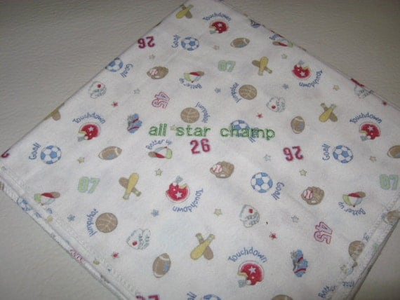 Embroidery Baby Receiving Blanket All Star Champ